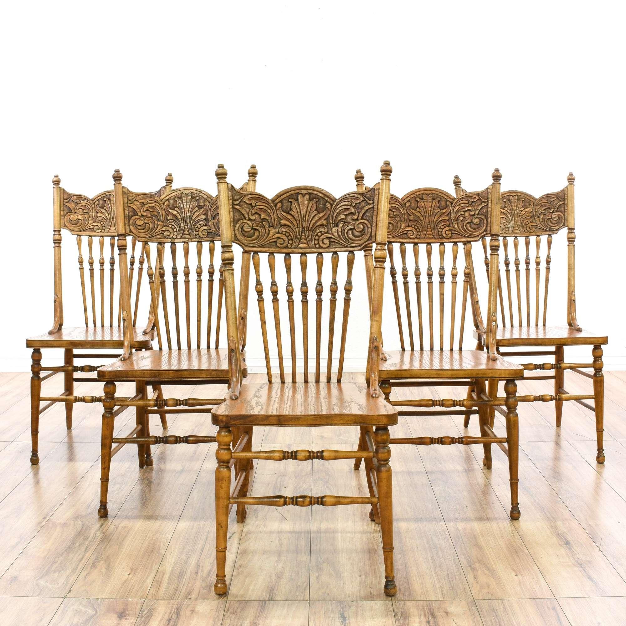 Set Of 5 Spindle Press Back Oak Dining Chairs Loveseat Vintage Furniture San Go
