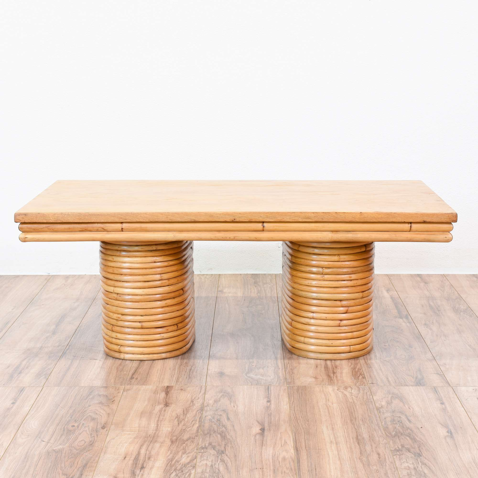 "Paul Frankl"" Style Tropical Rattan Coffee Table"