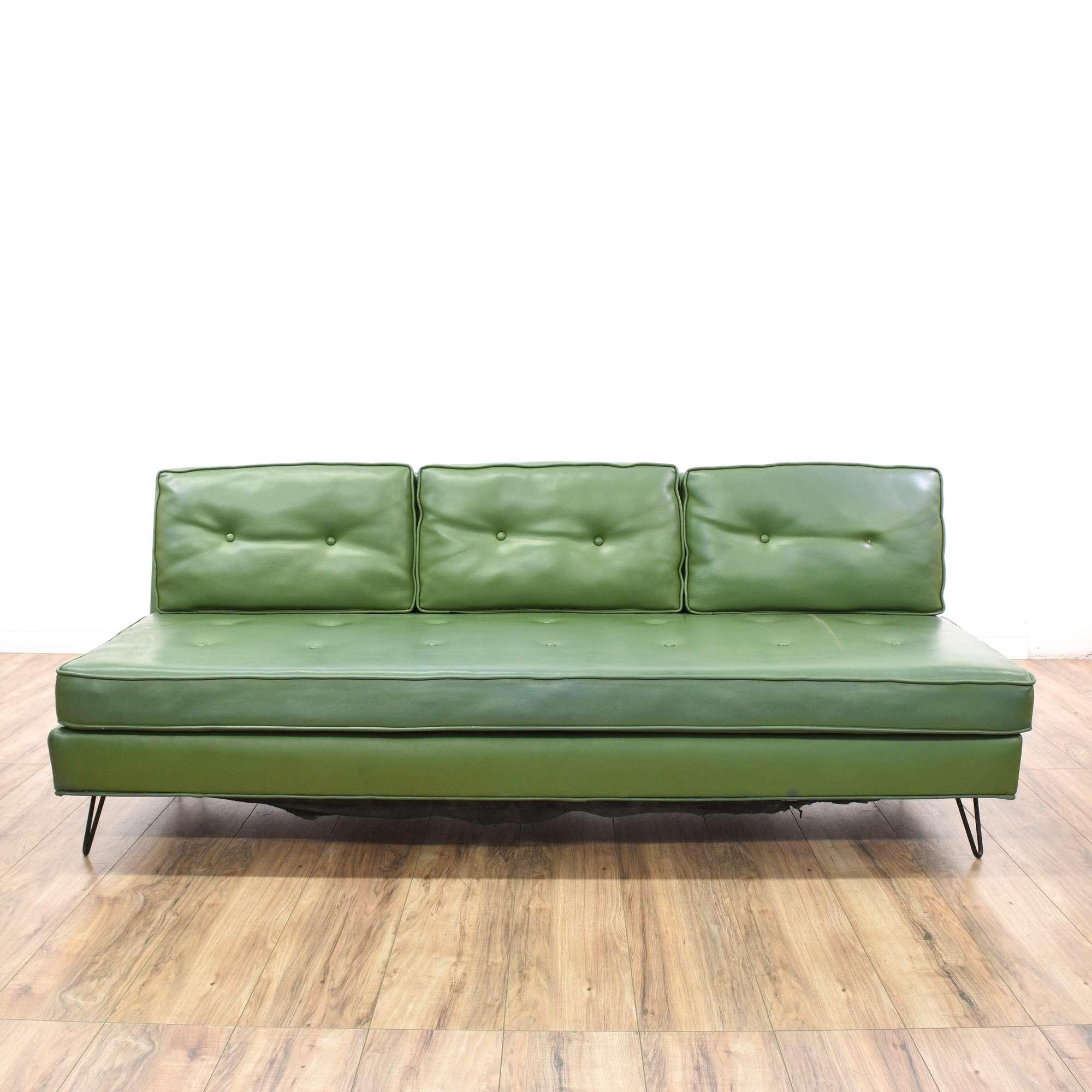 Mid Century Modern Green Vinyl Sofa | Loveseat Vintage ...