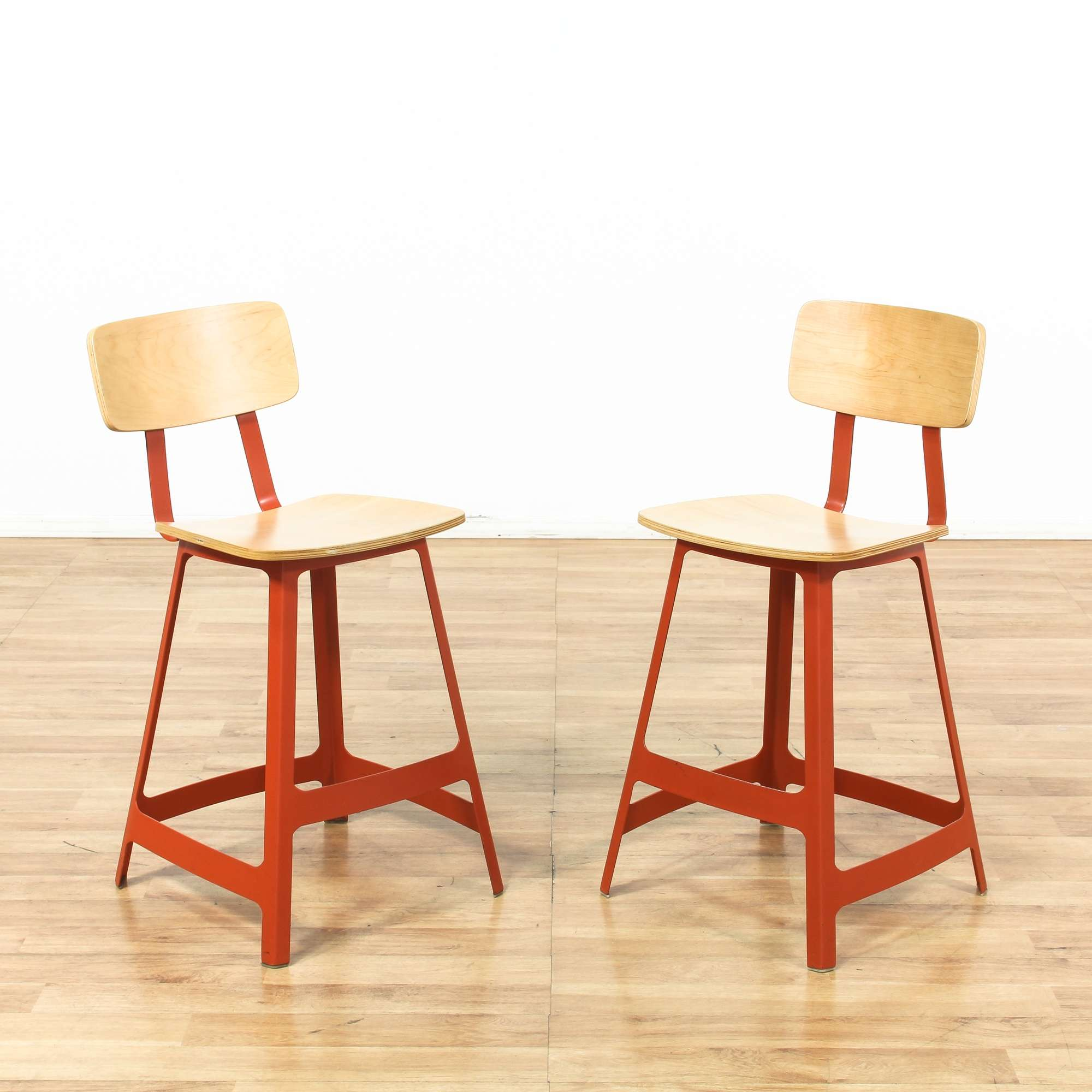 Pair Of Contemporary Barstools W Red Metal Frame 1 -
