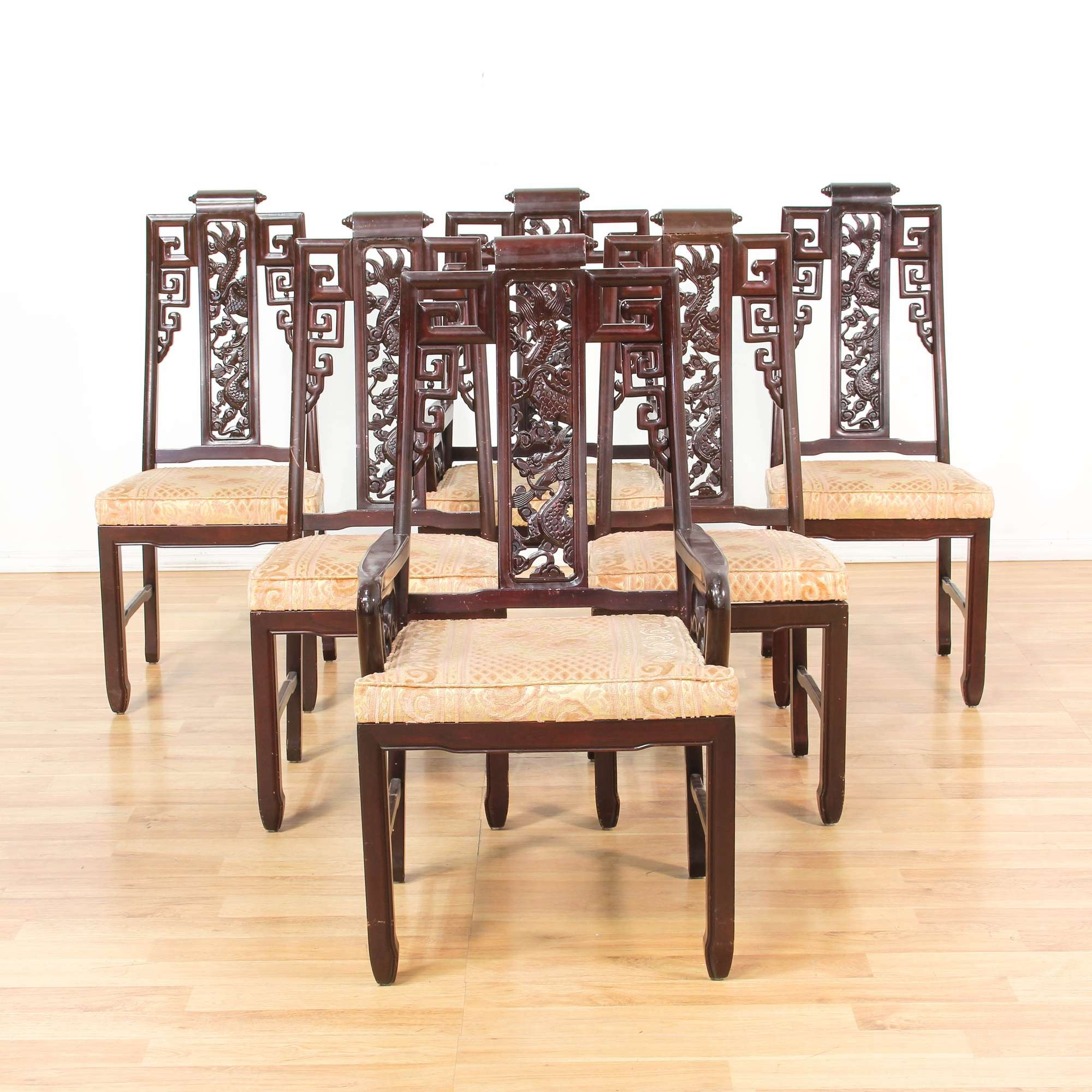 Set of 6 Carved Asian Chinese Dining Chairs