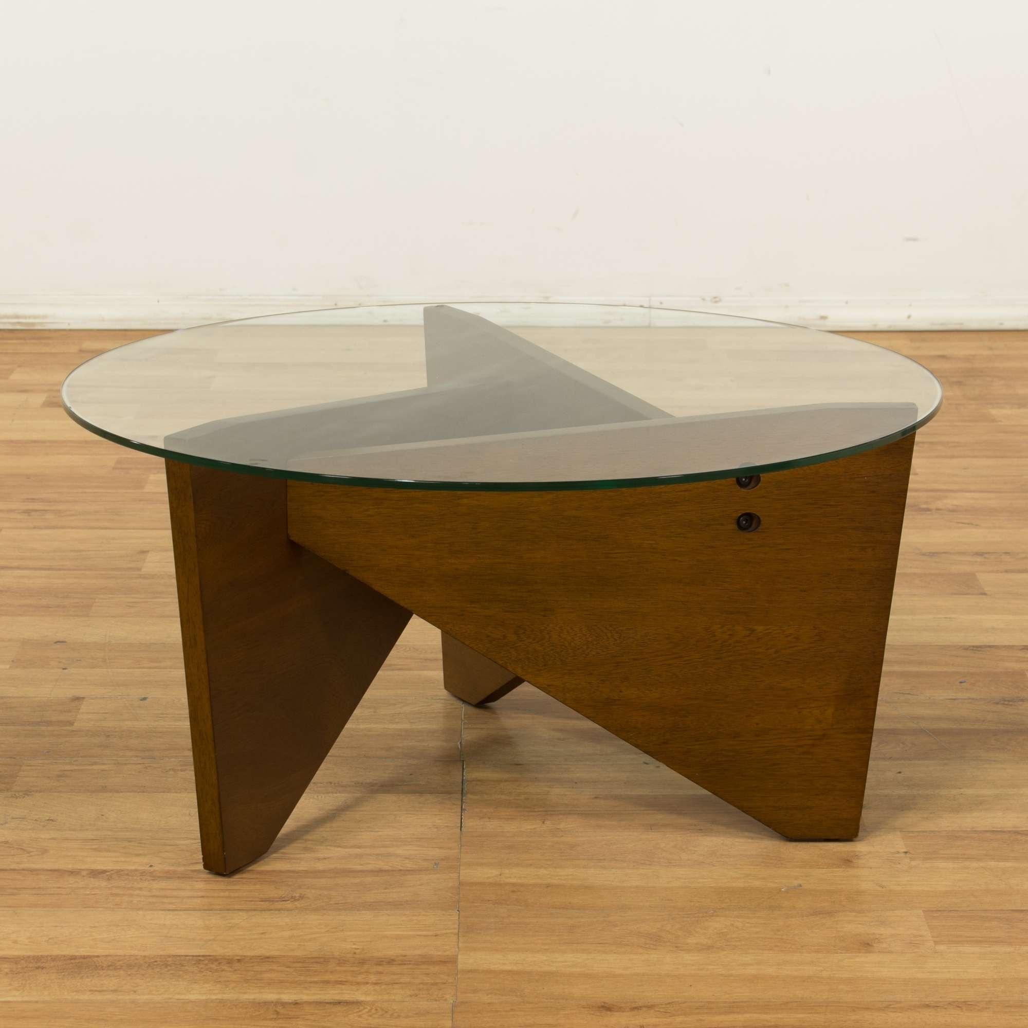 West Elm Round Geometric Coffee Table W Glass Top Loveseat