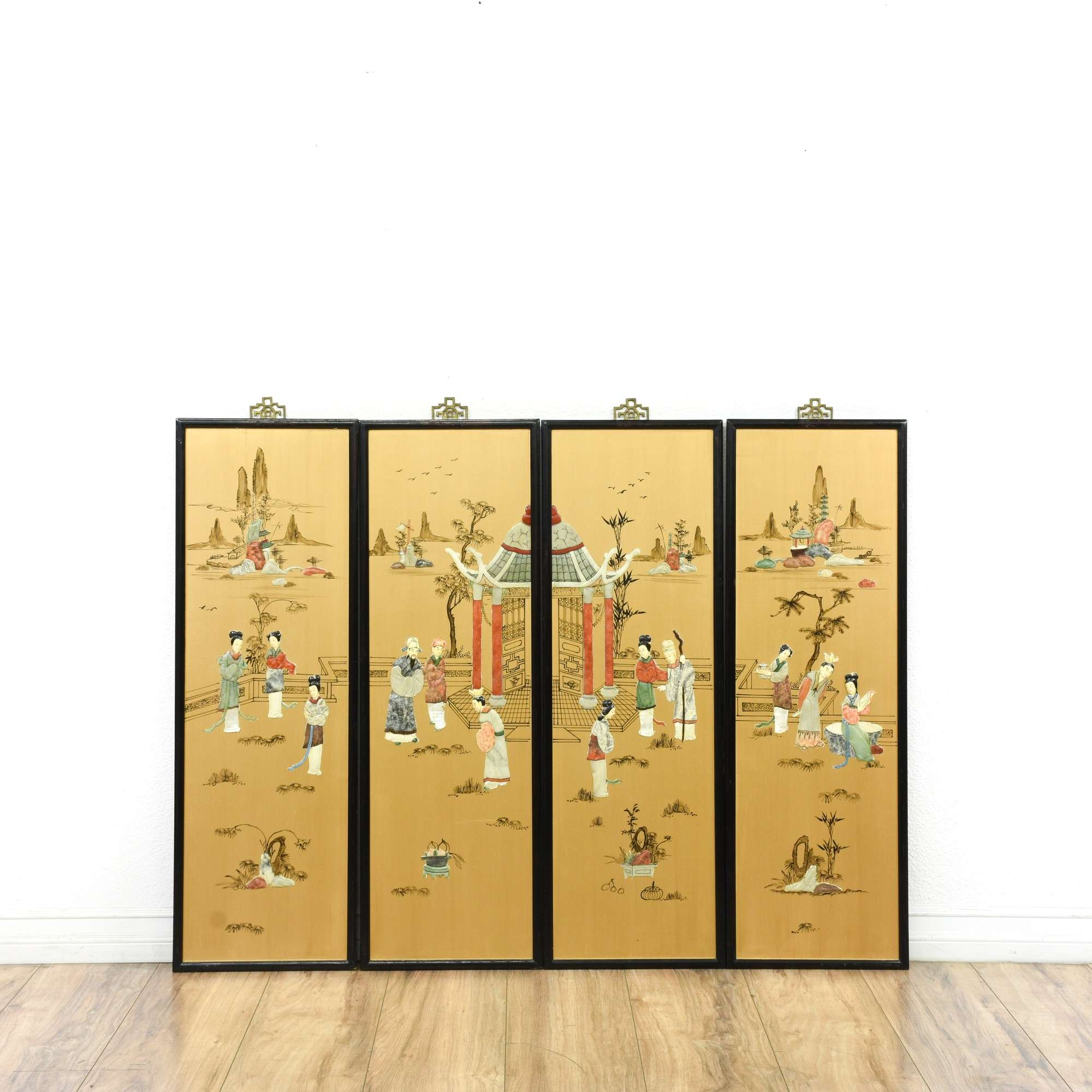 Set Of 4 Asian Black Lacquered Gold Wall Art Panel | Loveseat ...
