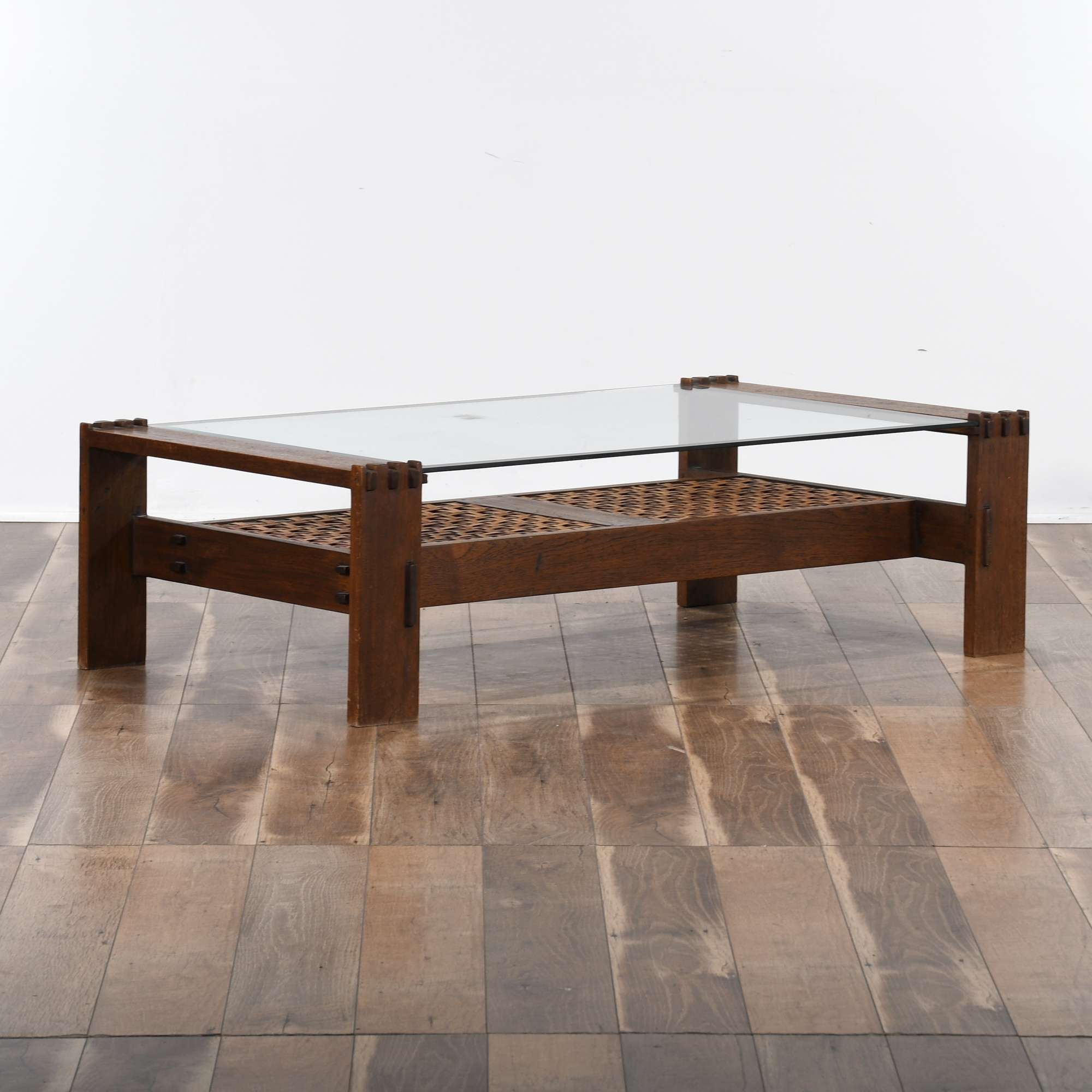 Mid Century Rattan Storage Coffee Table W Glass Top Loveseat