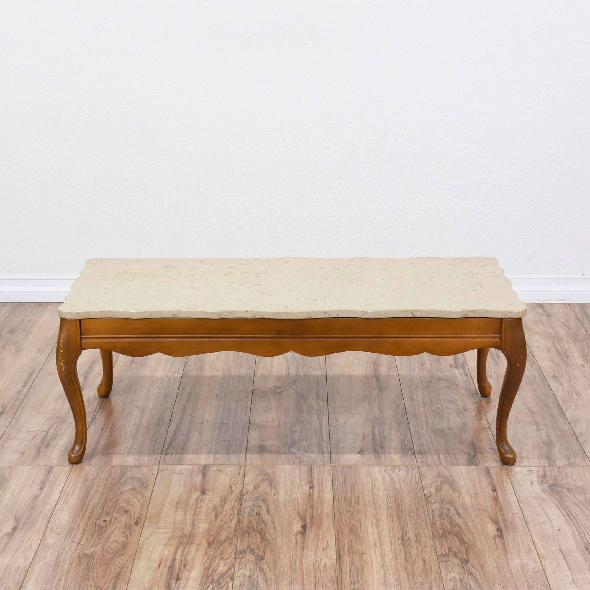 French Provincial Marble Top Coffee Table