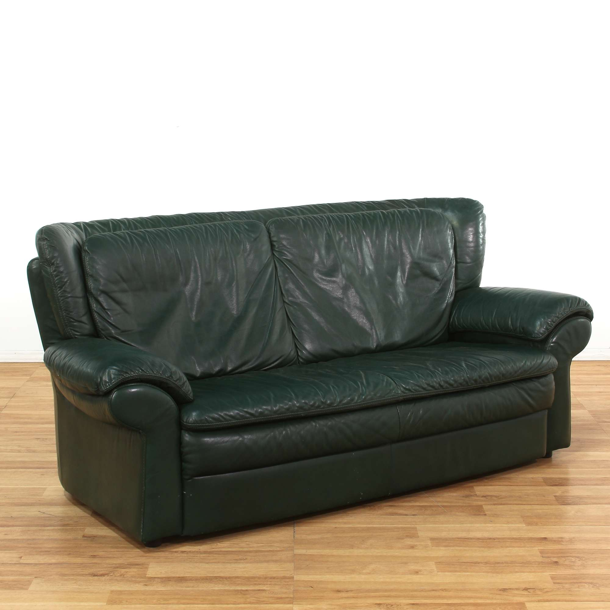Oversized Dark Green Leather Sofa | Loveseat Vintage ...