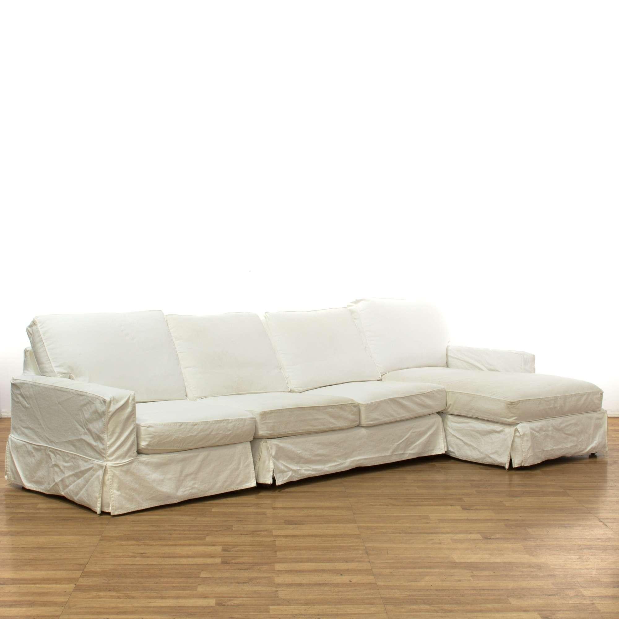 Incredible Pottery Barn White Denim Sectional Couch Loveseat Vintage Creativecarmelina Interior Chair Design Creativecarmelinacom