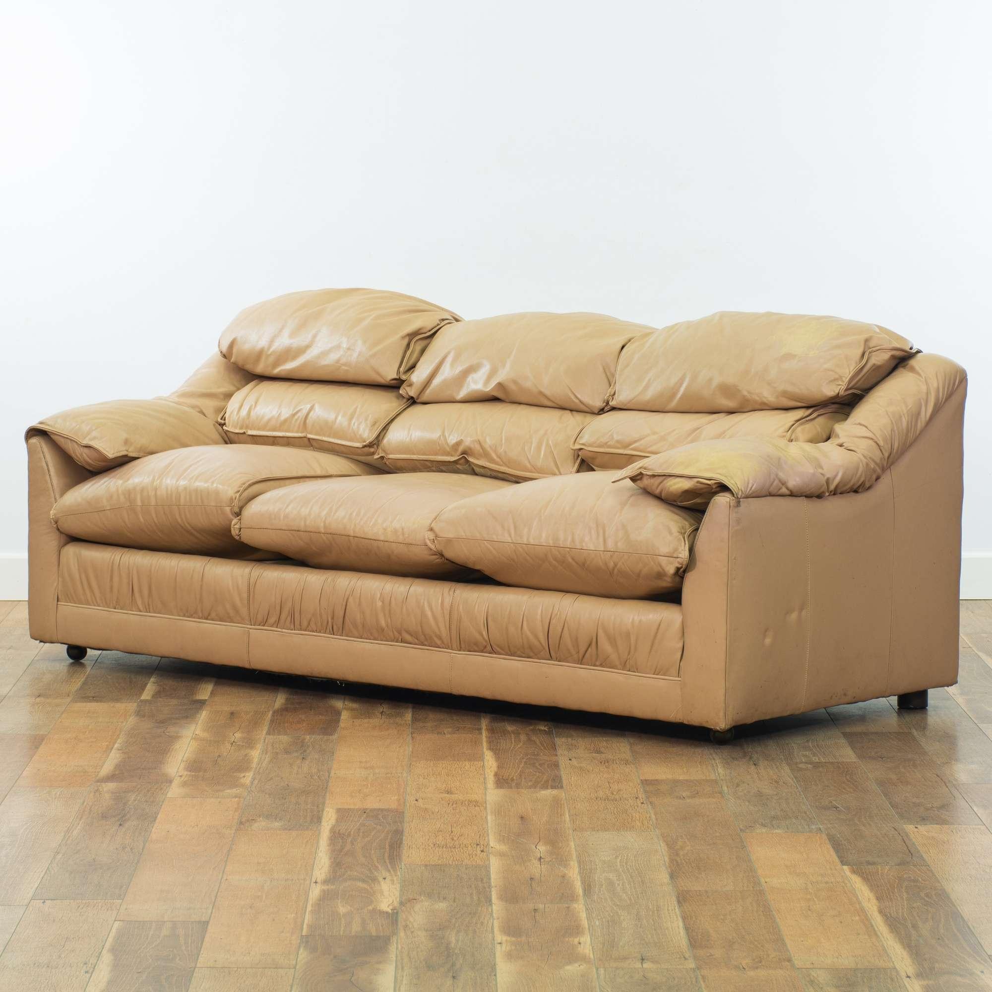 Emerson Tan Overstuffed Leather Sofa