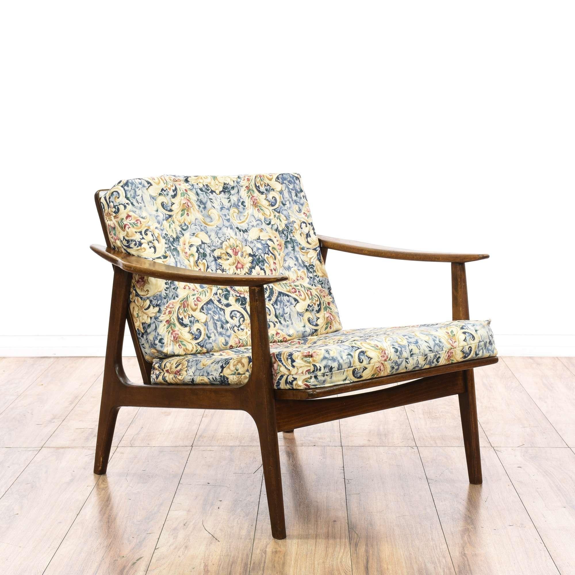 Mid Century Modern Wood Frame Floral Chair   Loveseat Vintage ...