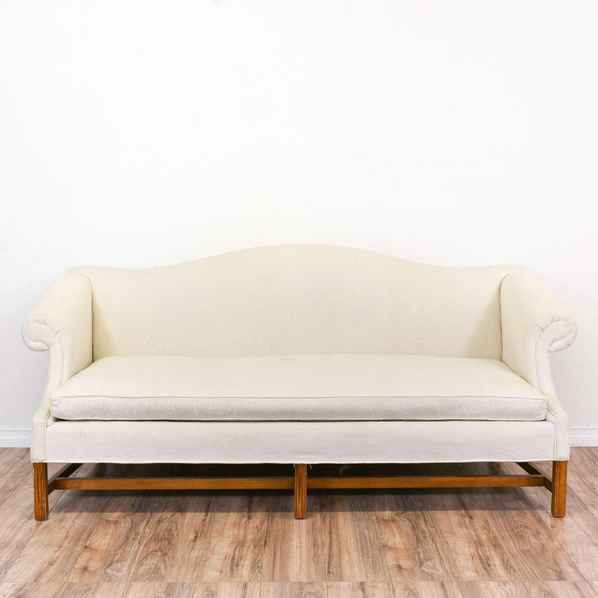 Contemporary Chippendale Camelback Sofa in White