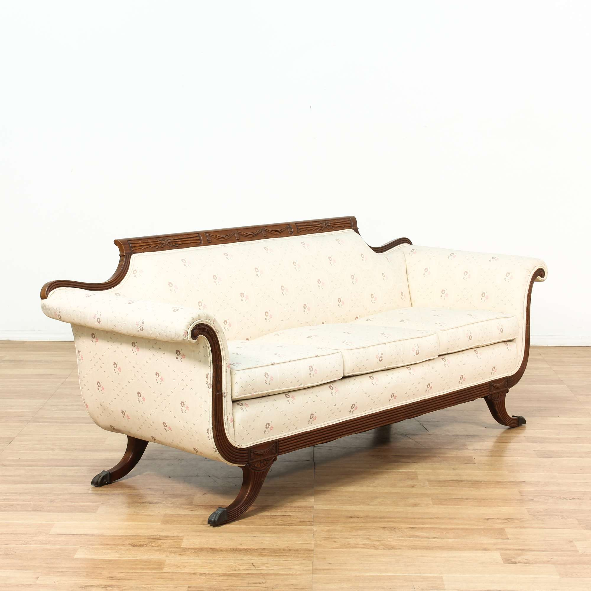 Duncan Phyfe Style Cream Sofa w/ Carved Wood Frame | Loveseat ...