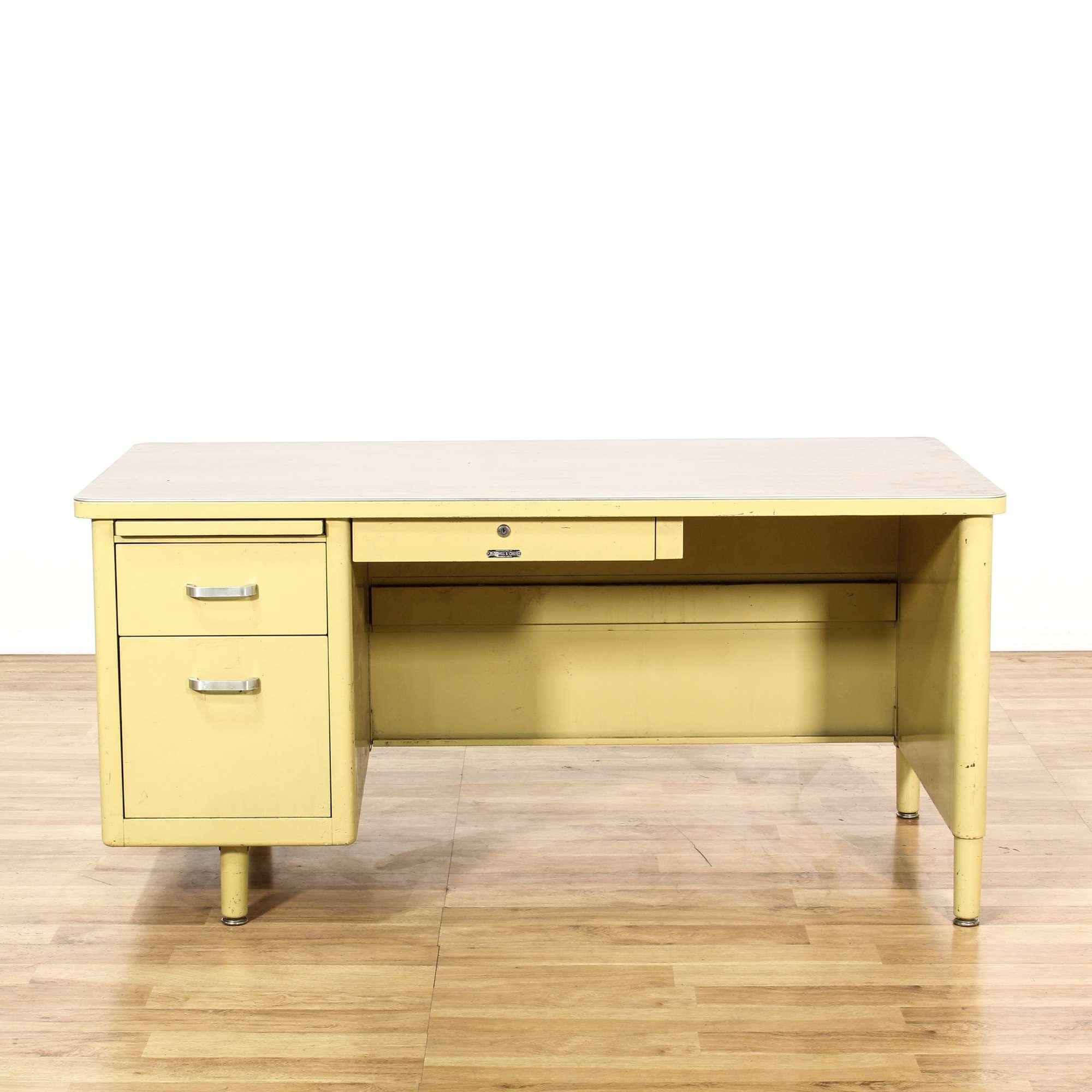 Retro Yellow Metal Tanker Desk Loveseat Vintage Furniture Los Angeles