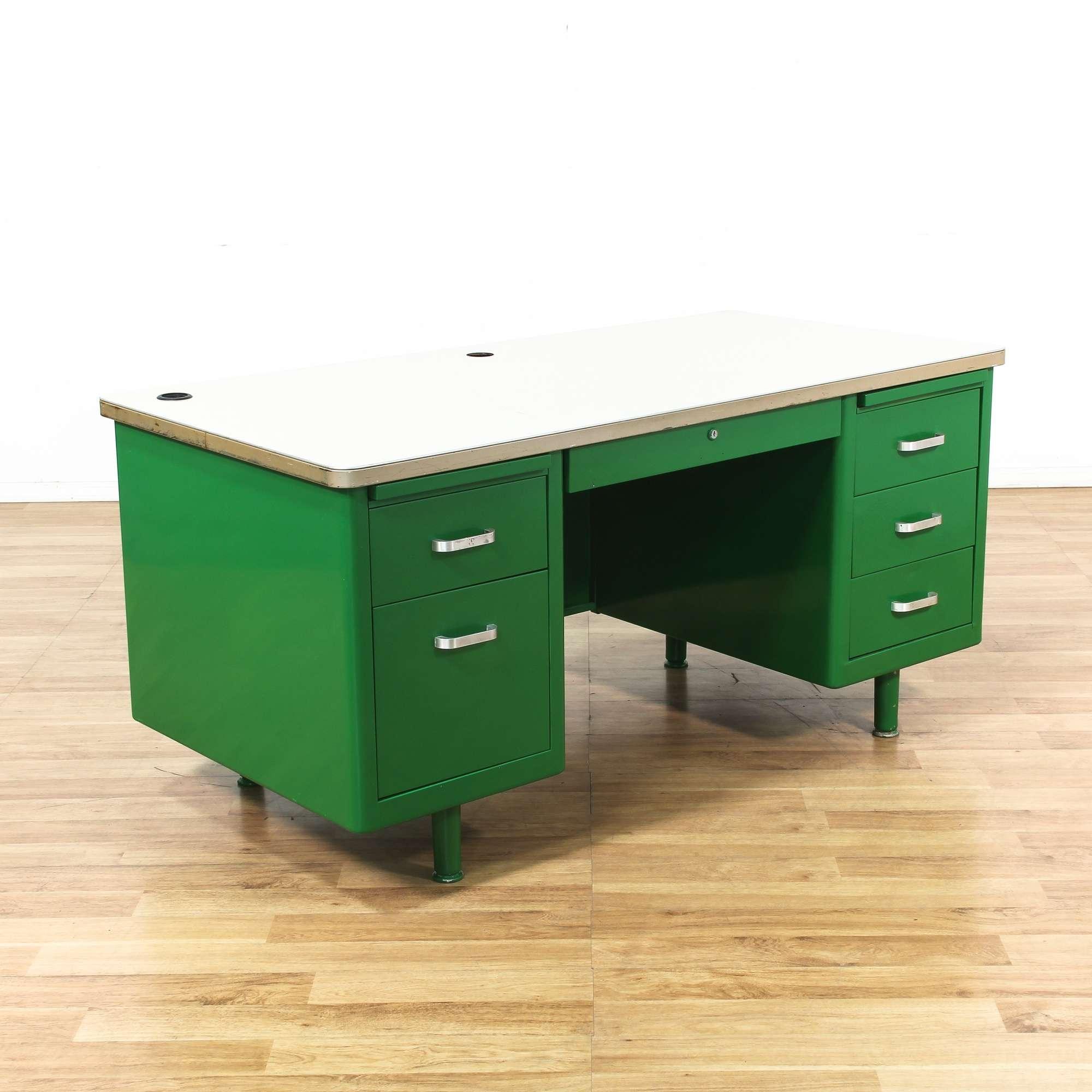 Green powder coated metal tanker desk 1