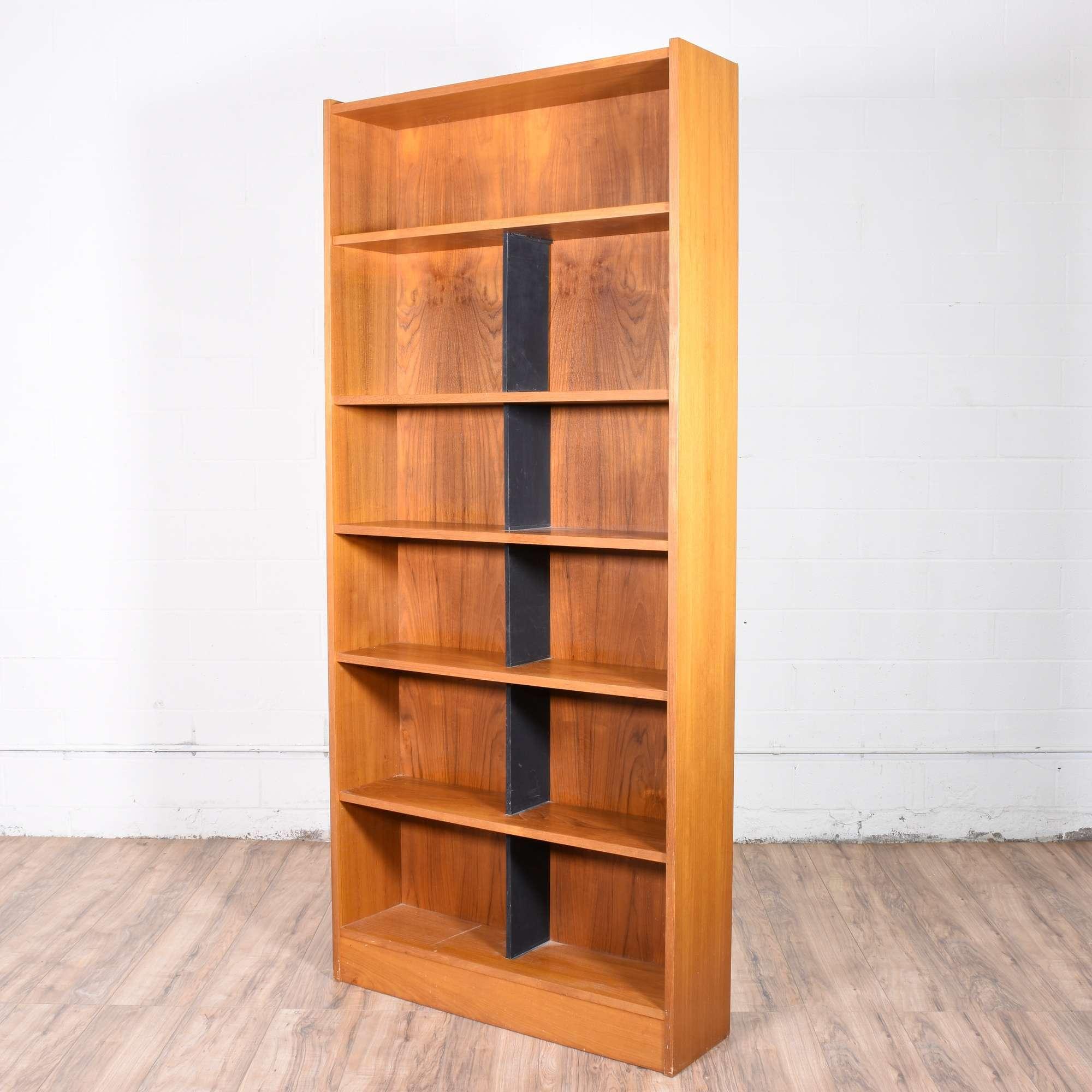 Tall Mid Century Modern Danish Teak Bookcase Loveseat