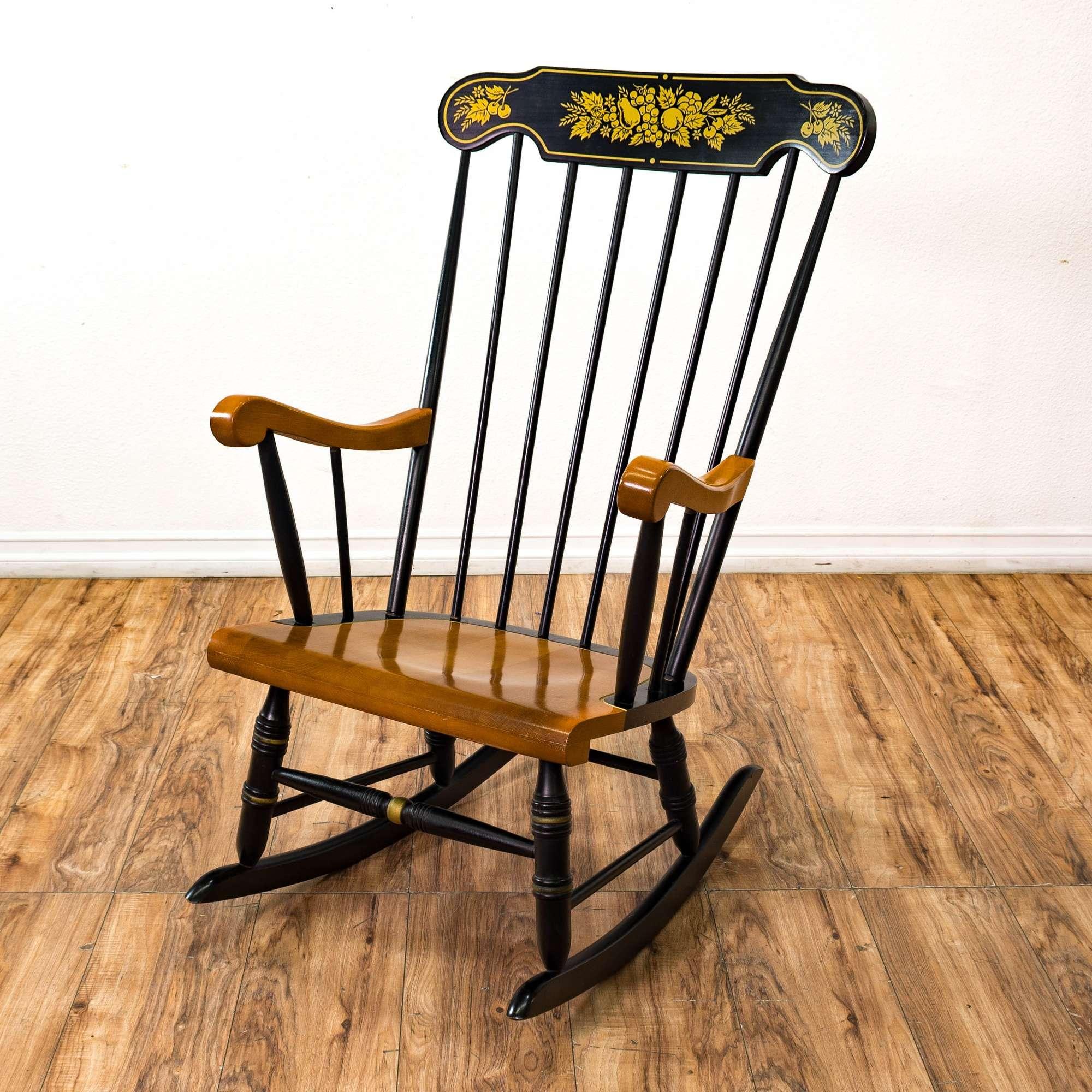 Strange Black Wood Rocking Chair W Gold Stencil Loveseat Ncnpc Chair Design For Home Ncnpcorg
