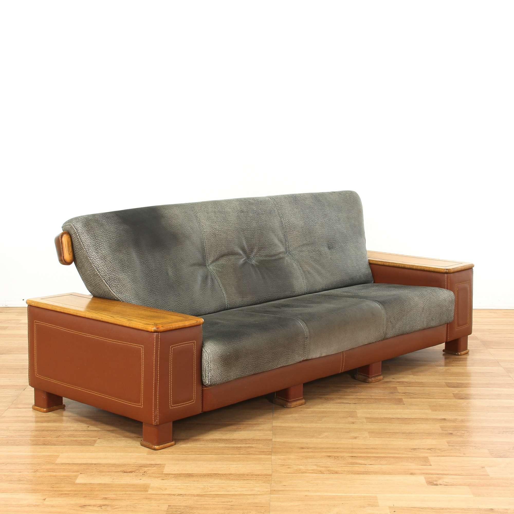 Grey & Brown Distressed Leather Sofa w/ Wood Frame ...