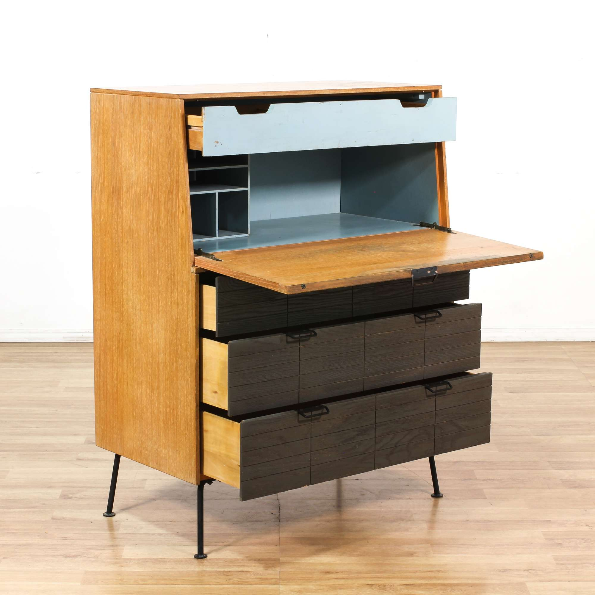 down flip top furniture surface wood secretary desk small classic slant with stained