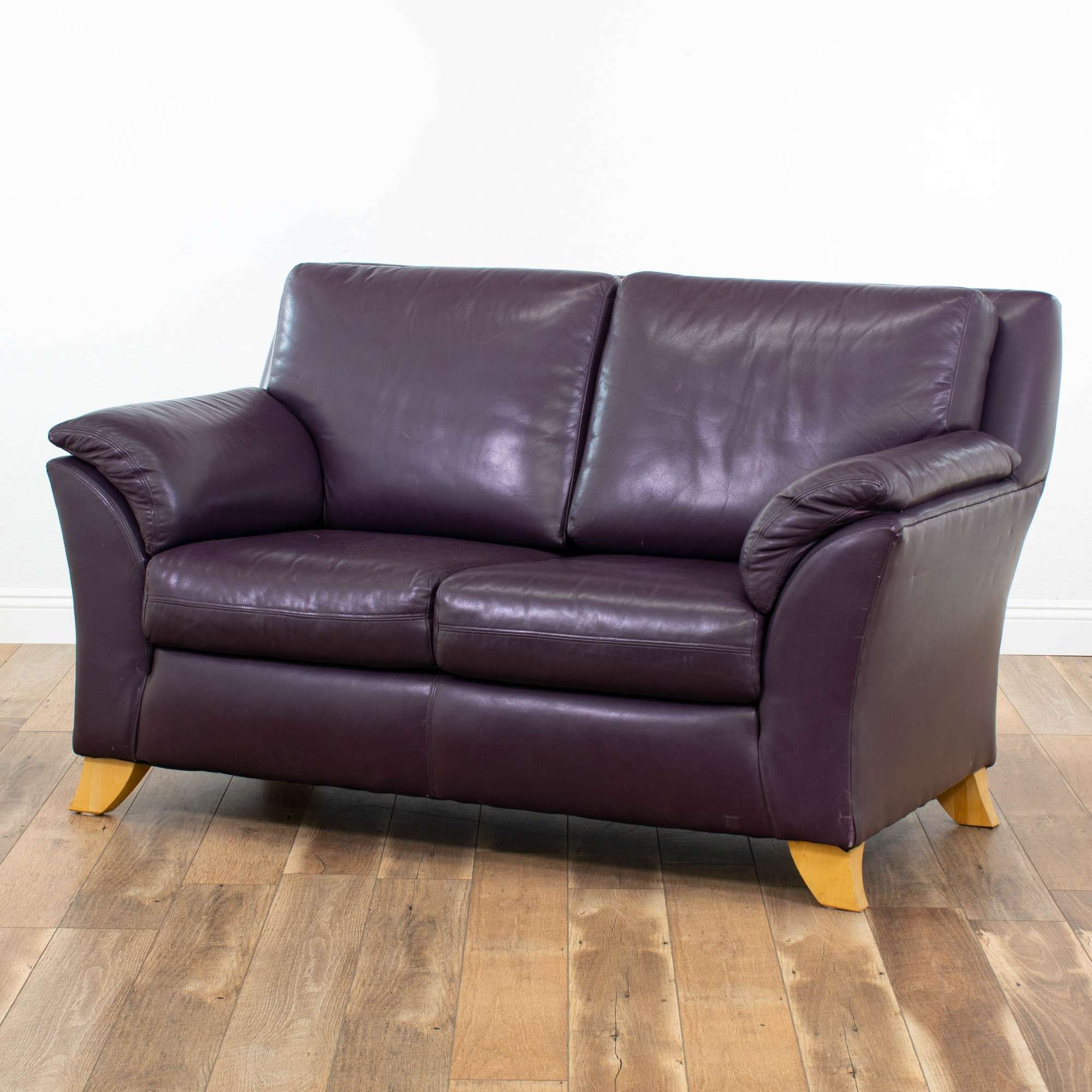 Admirable Genuine Leather Loveseat By The Leather Factory In Plum Gmtry Best Dining Table And Chair Ideas Images Gmtryco