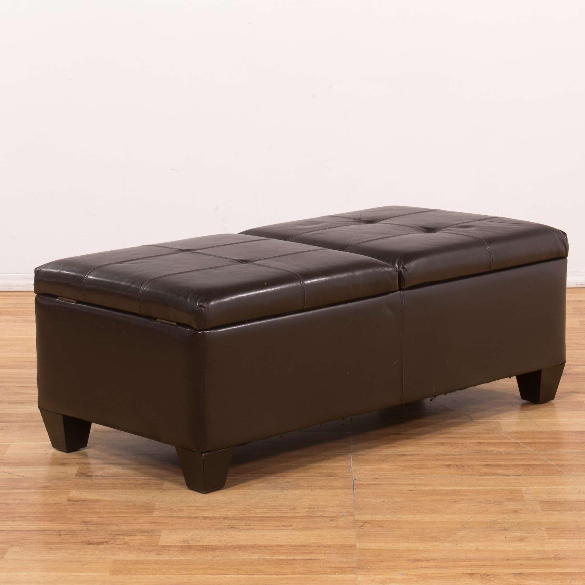 Amazing Dark Brown Vinyl Storage Ottoman Bench Loveseat Vintage Alphanode Cool Chair Designs And Ideas Alphanodeonline