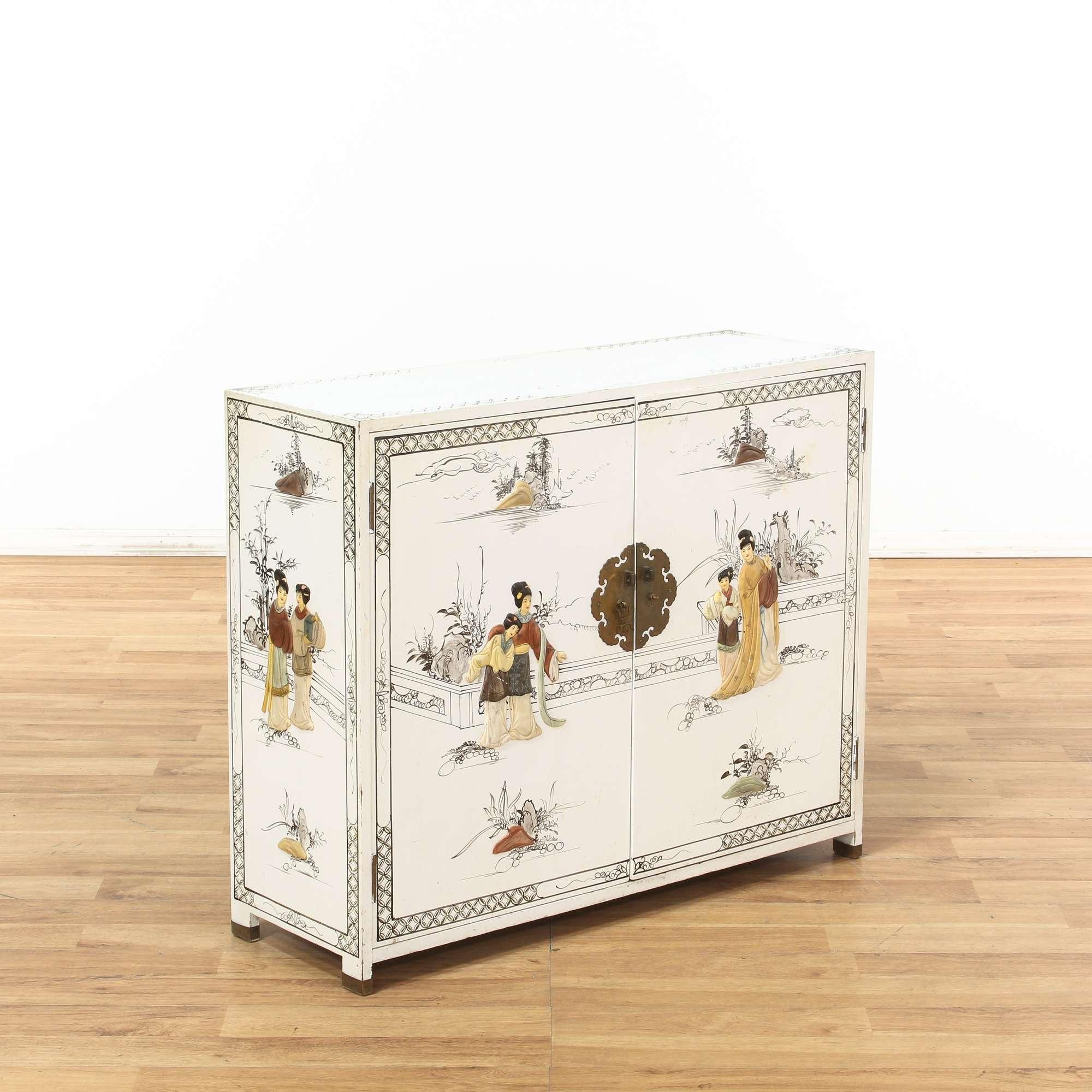 White Asian Cabinet W Brass Hardware Women Motif Loveseat