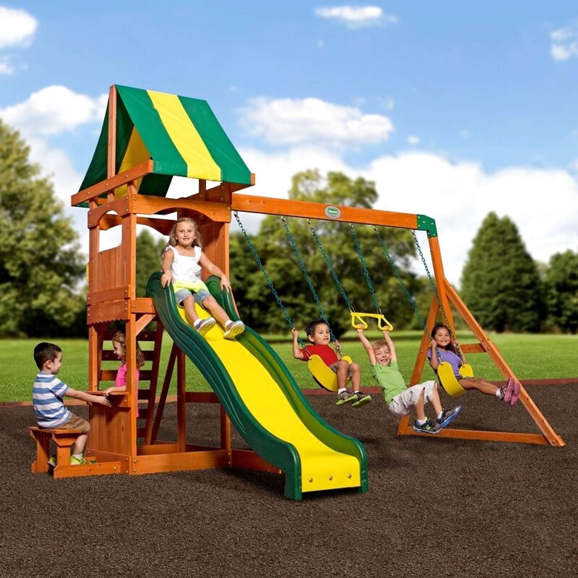 Backyard Discovery Weston All Cedar Swing Set | Loveseat ...