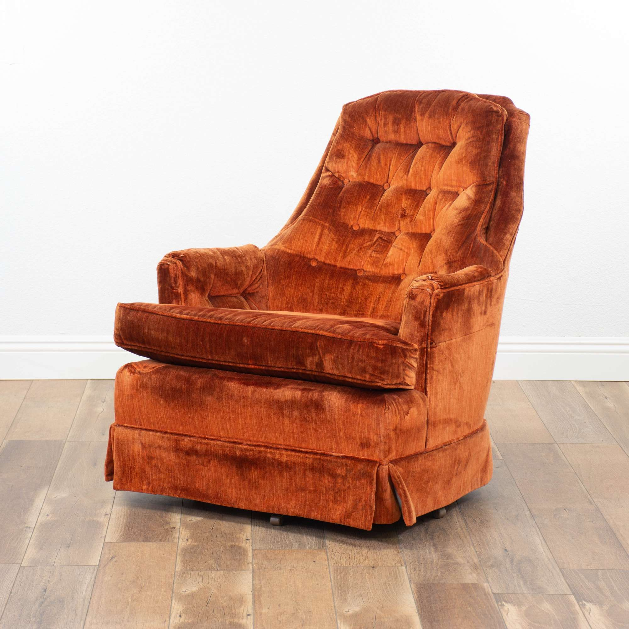 Amazing Kay Co Burnt Orange Velvet Swivel Rocker 1 Made In Usa Squirreltailoven Fun Painted Chair Ideas Images Squirreltailovenorg