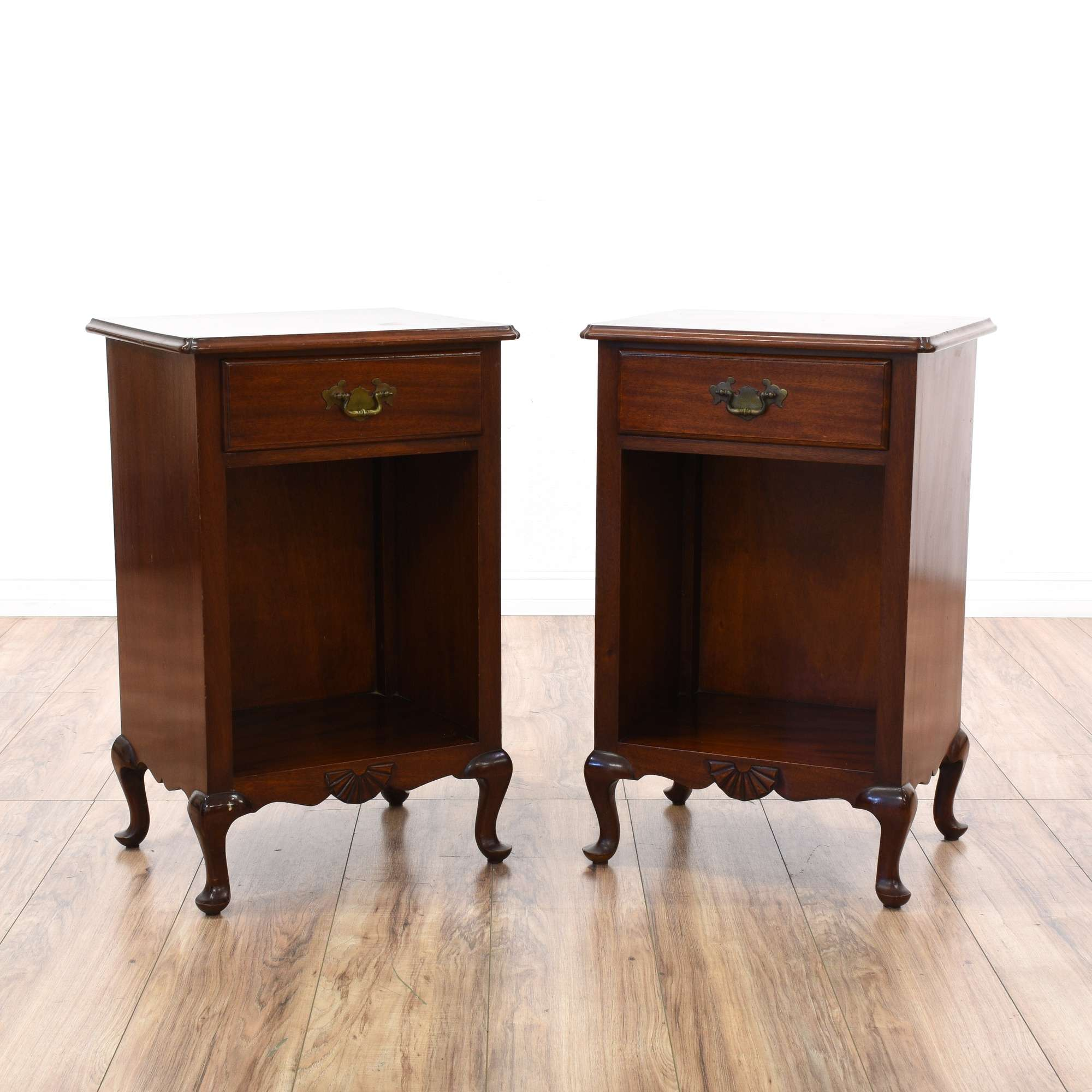 Pair Of Dark Cherry Nightstand Cabinets Loveseat Vintage