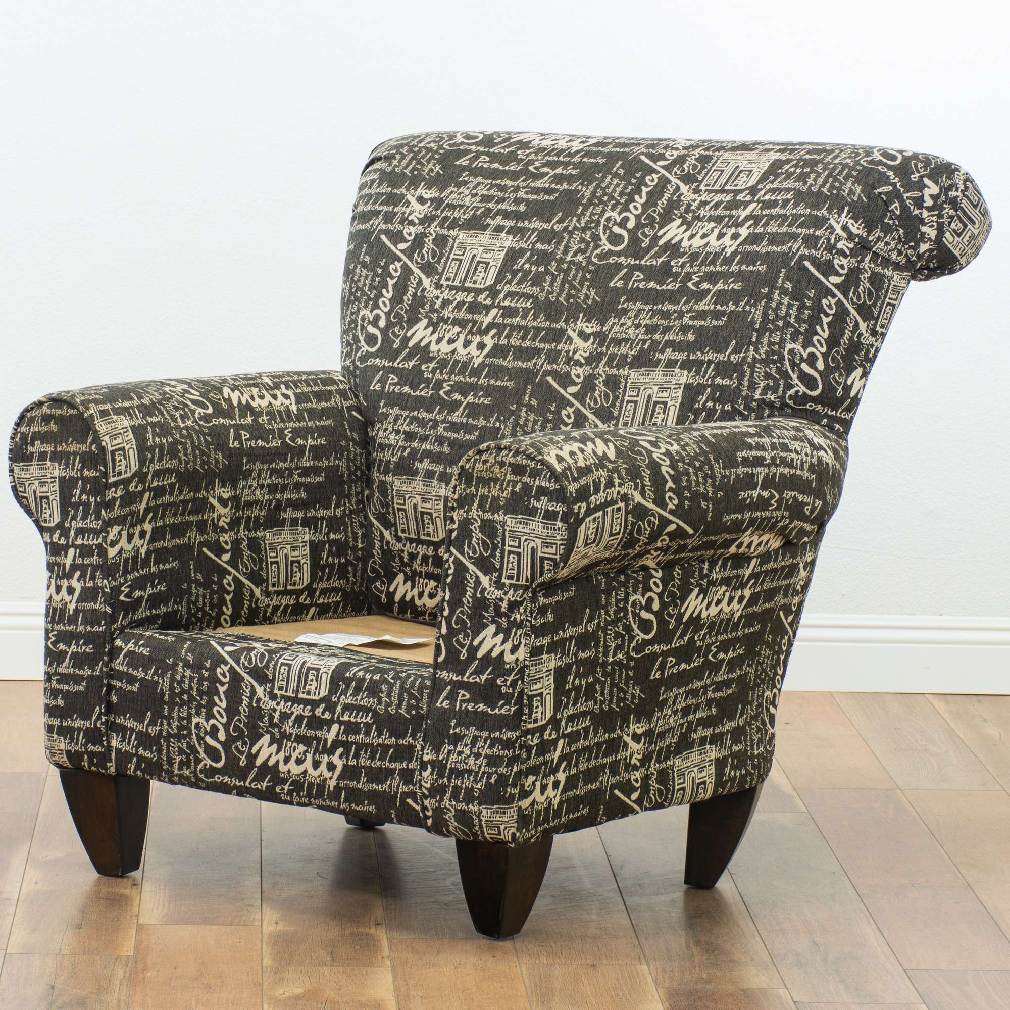 Oversized Armchair & Ottoman W/ Script Upholstery ...