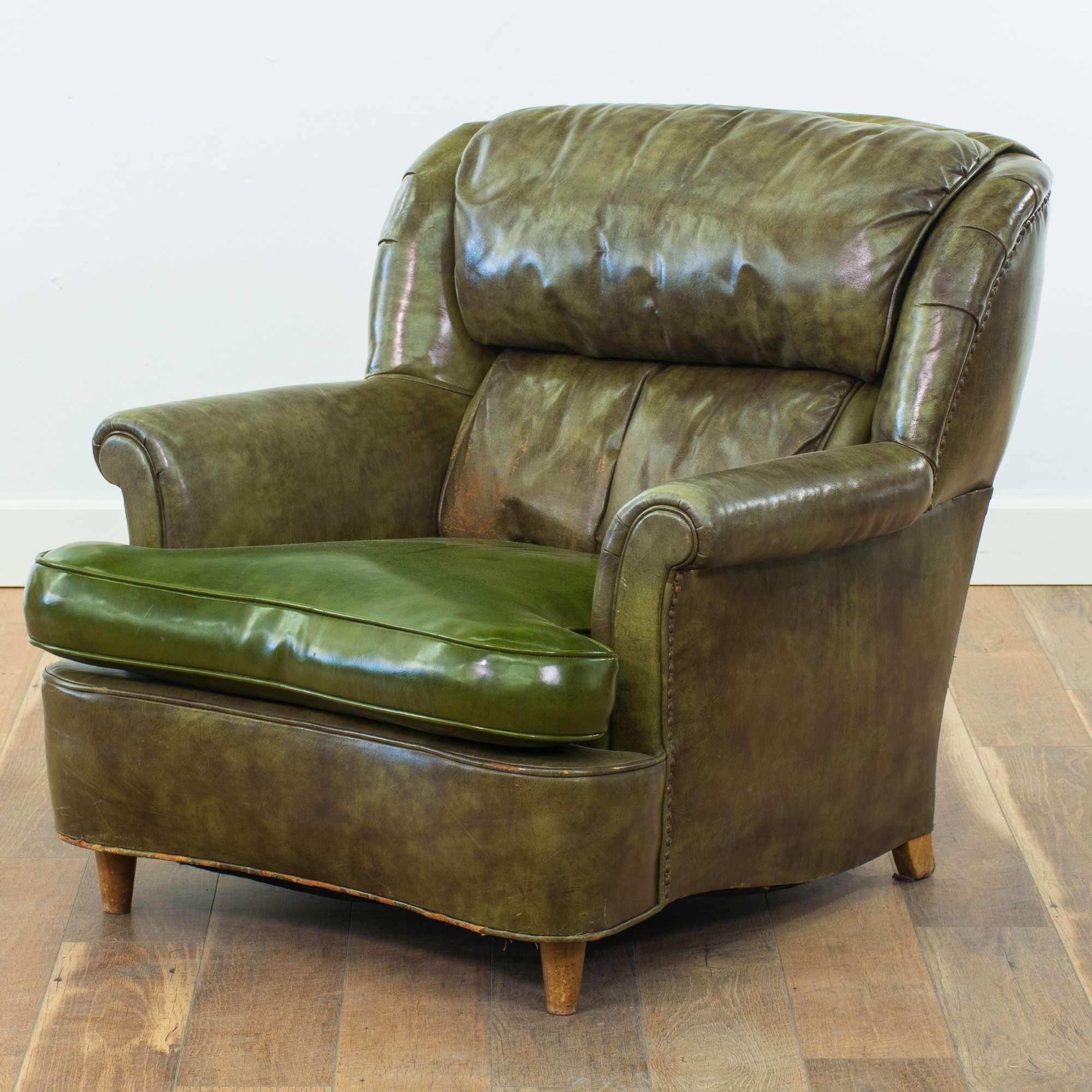 Green Leather Overstuffed Armchair | Loveseat Vintage ...