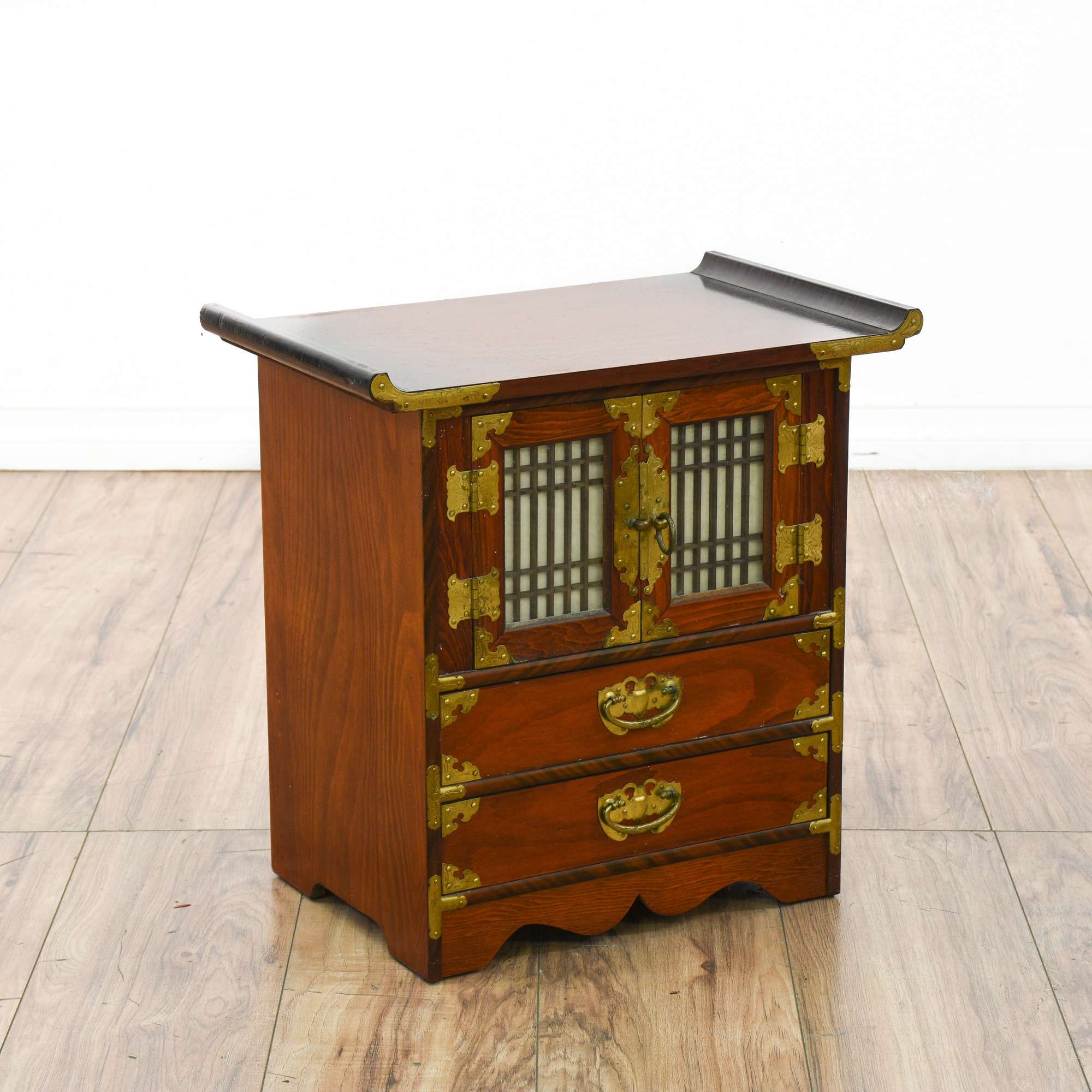 Asian Korean Style Cabinet Box W Glass Doors Loveseat Vintage Furniture San Go
