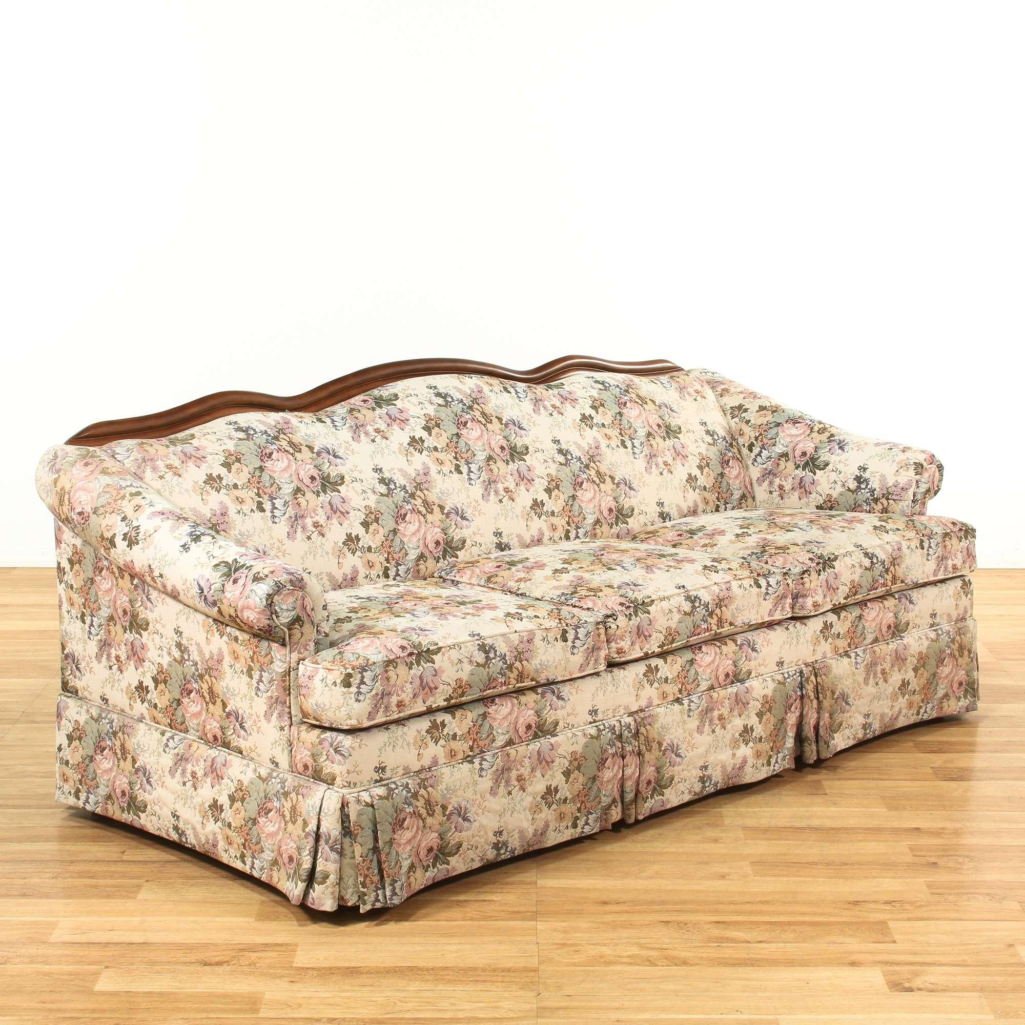Ethan Allen Sleeper Sofa W Wood Trim Loveseat Vintage