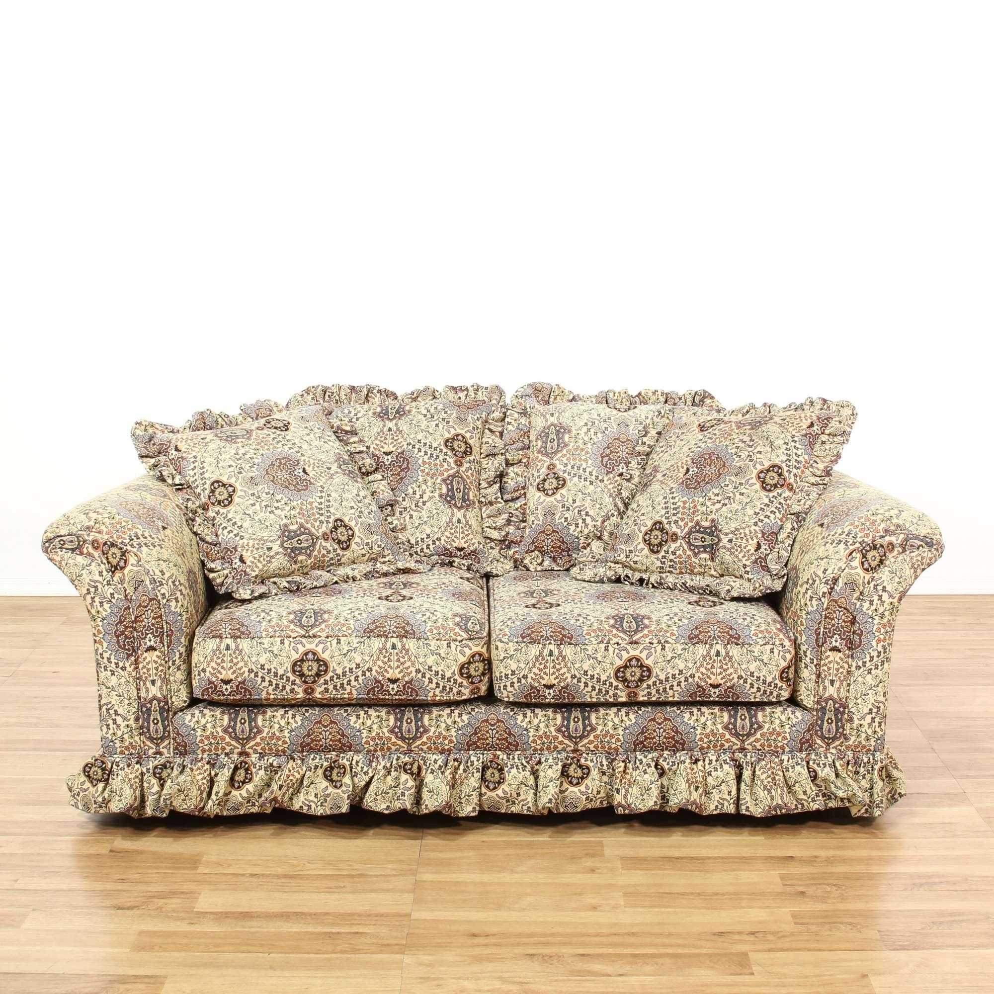 Terrific Bohemian Floral Ruffle Loveseat Sofa Loveseat Vintage Gamerscity Chair Design For Home Gamerscityorg