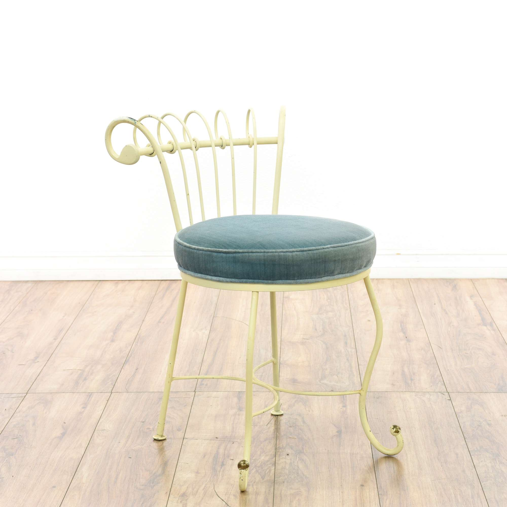 Superb White Wrought Iron Blue Velvet Vanity Stool Loveseat Caraccident5 Cool Chair Designs And Ideas Caraccident5Info