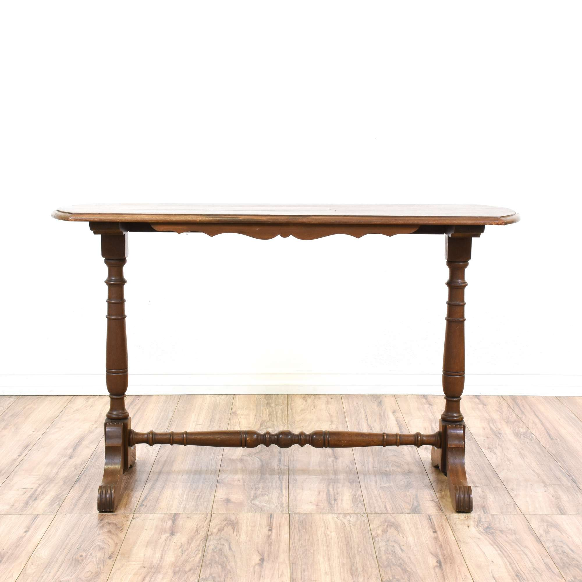 Country Chic Carved Trestle Console Table