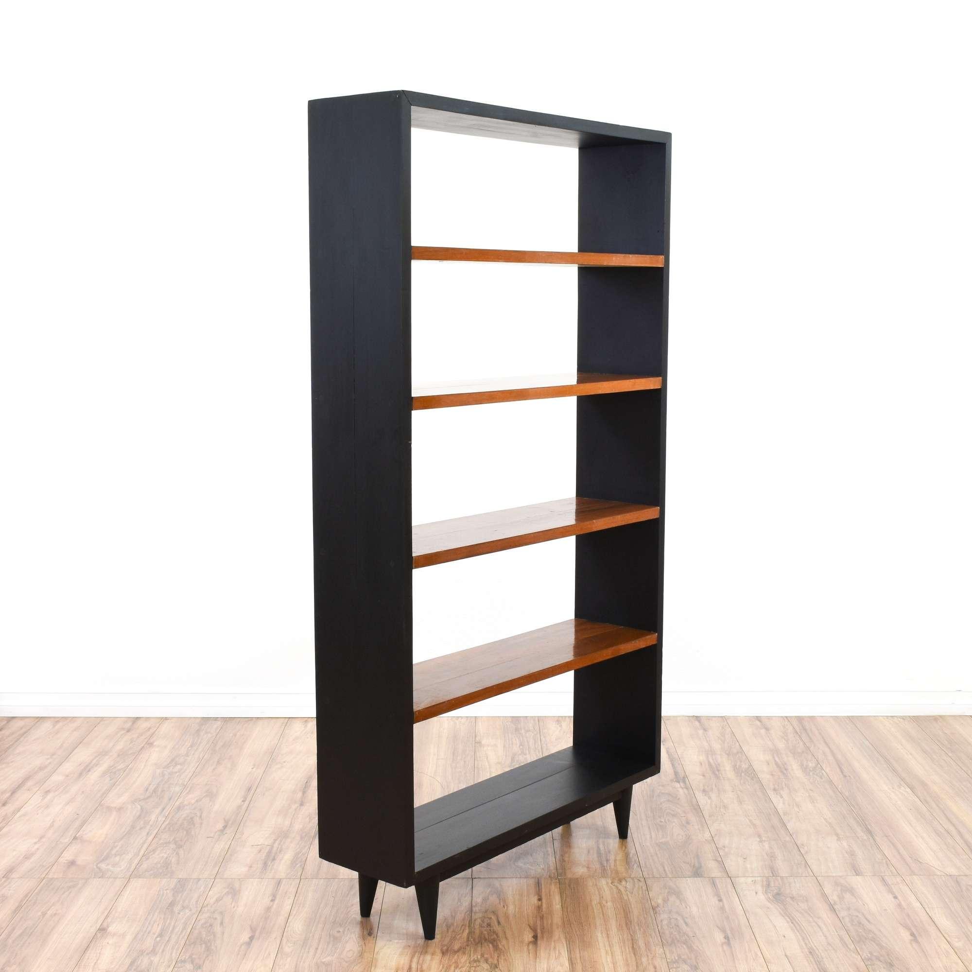 Black Mid Century Modern Tall Bookshelf Loveseat Vintage
