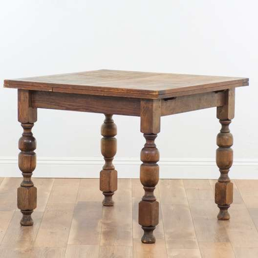 Antique Square Tiger Oak Colonial Drawleaf Dining Table Loveseat Online Auctions San Diego