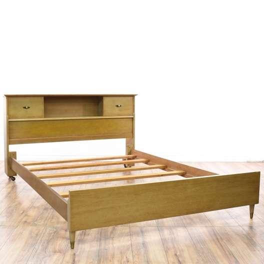 mid century queen bed frame w storage headboard loveseat com san diego