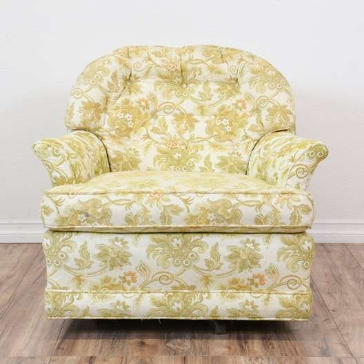 Pair of Yellow Green Paisley Print Armchairs | Loveseat ...