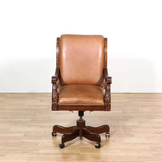 Miraculous Cherry Carved Tan Leather Rolling Office Chair Loveseat Short Links Chair Design For Home Short Linksinfo