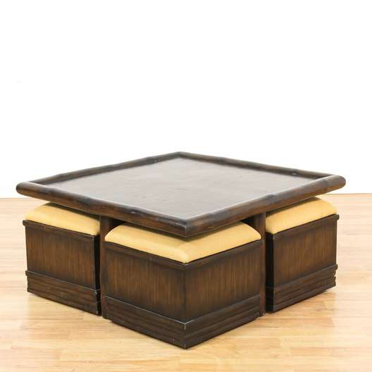 Bernhardt Asian Chow Coffee Table W Seats Loveseat Vintage - Chow coffee table