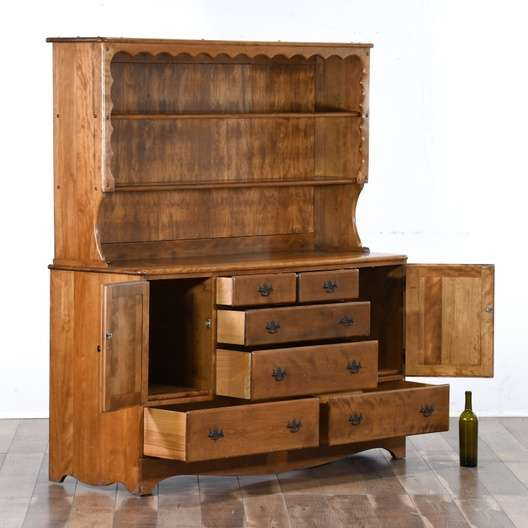 Country Farmhouse Solid Wood Kitchen Hutch Cabinet