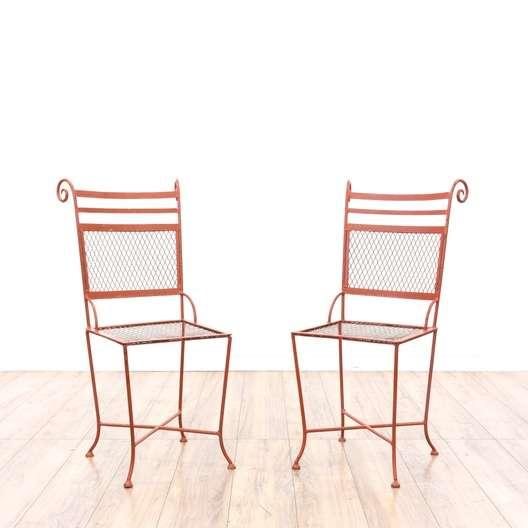 Pair Of Red Metal Patio Chairs Loveseat Vintage