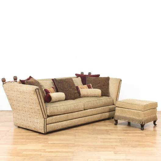 Nailhead Sofa Couch W Fold Down Arms Amp Ottoman Loveseat