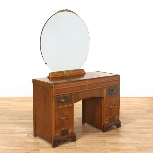 Art Deco Waterfall Vanity Dresser W Round Mirror Loveseat Vintage