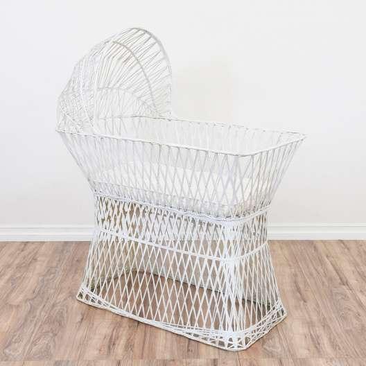 White Spun Fiberglass Bassinet Crib Loveseat Vintage Furniture San