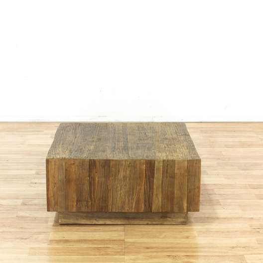 West Elm Plank Modern Square Coffee Table Loveseat Vintage - West elm plank coffee table