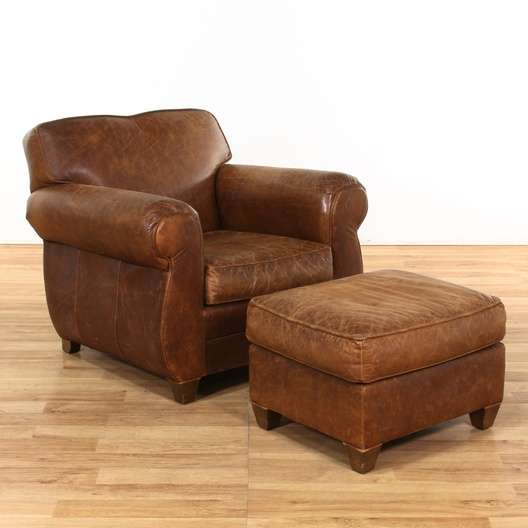 """Leather Sofas In Los Angeles: """"Restoration Hardware"""" Leather Armchair W/ Ottoman"""