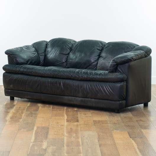 Overstuffed Black Leather Sofa Loveseat Vintage Furniture