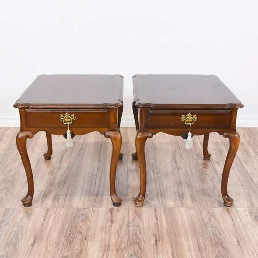 Pair Of Queen Anne Cherry End Tables