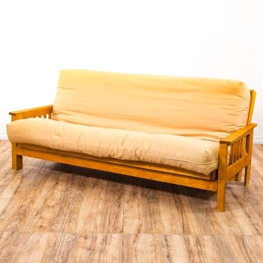 Light Brown Futon W Wood Frame
